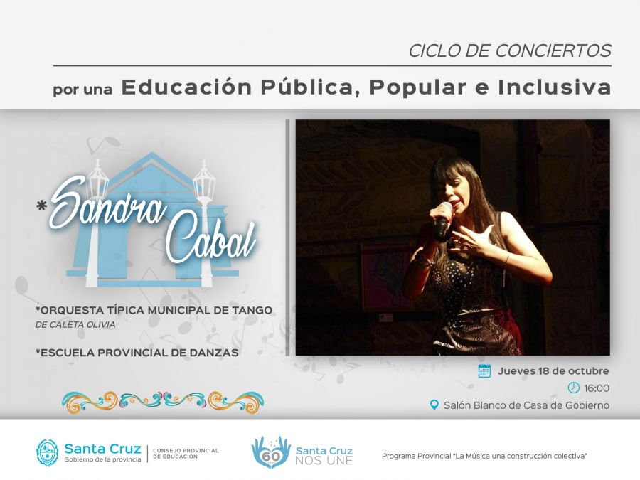 La cantante Sandra Cabal se presentará en el Salón Blanco